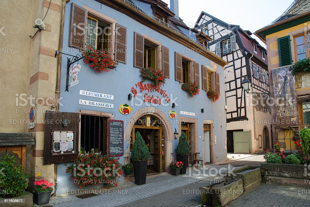 Beautiful old building in the village Ribeauville in France stock photo