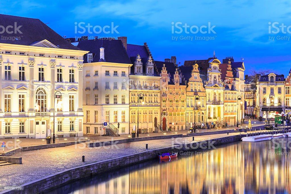 Beautiful old buildings on Korenlei embankment in Ghent stock photo