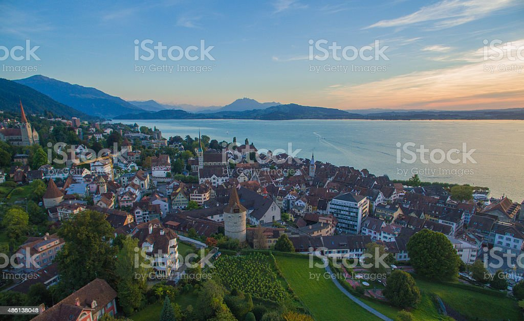Beautiful old city Zug, Switzerland, Europe stock photo