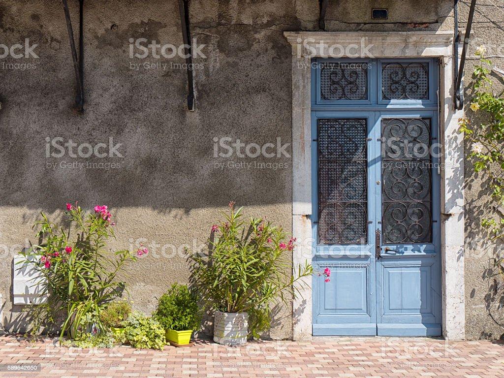 beautiful old door painted blue stock photo