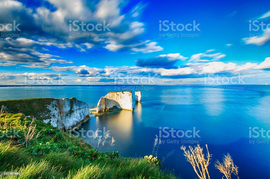 Beautiful Old Harry Rocks in Dorset stock photo