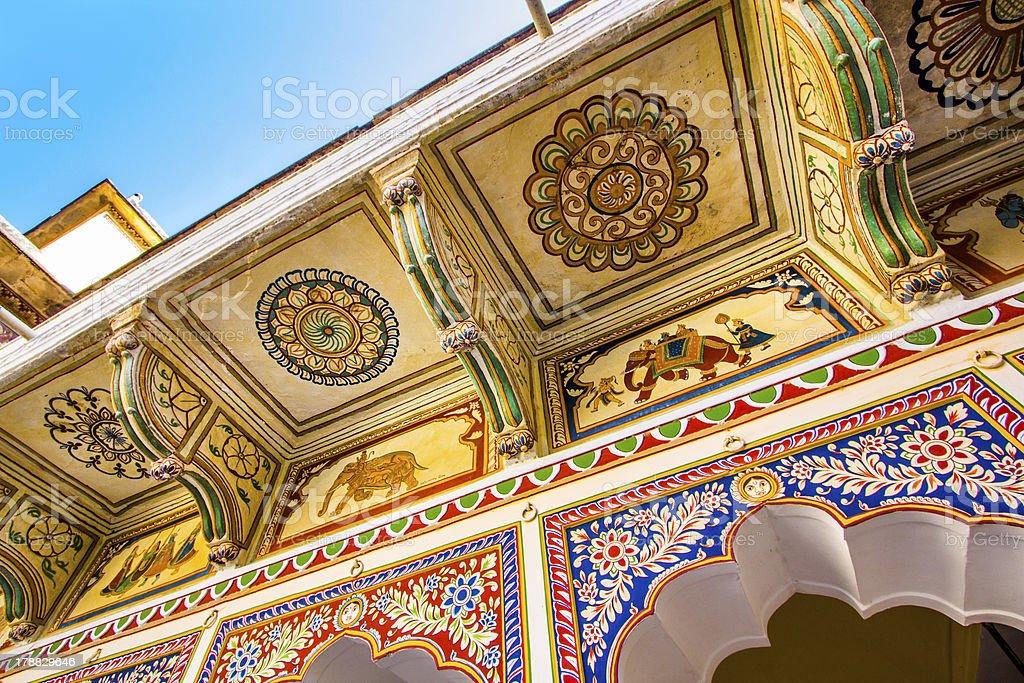 beautiful old haveli in Mandawa, Rajasthan, India stock photo