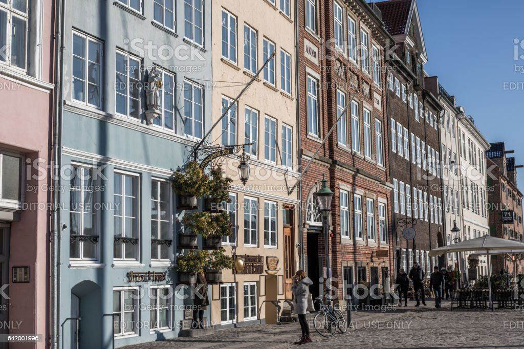 Beautiful old houses in Nyhavn, Copenhagen, Denmark stock photo