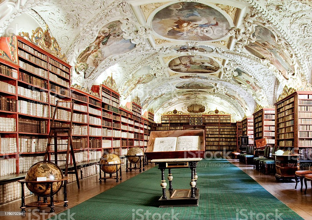 beautiful old library stock photo