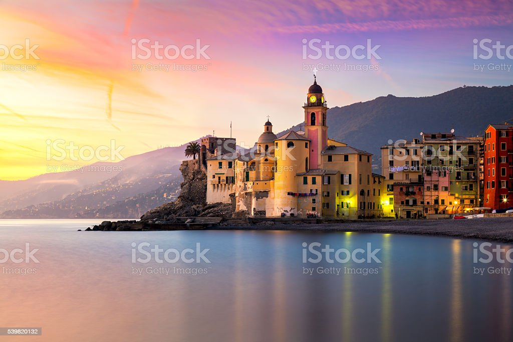 Beautiful Old Mediterranean Town at the sinrise time stock photo