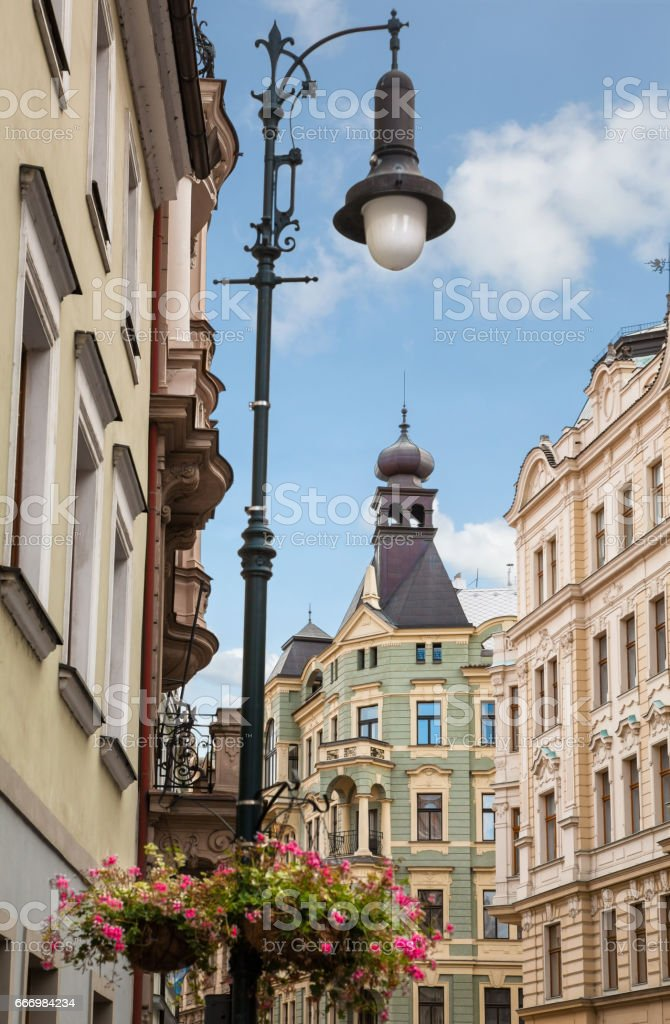 beautiful old wall lamp on a historic street near the Prague Castle stock photo