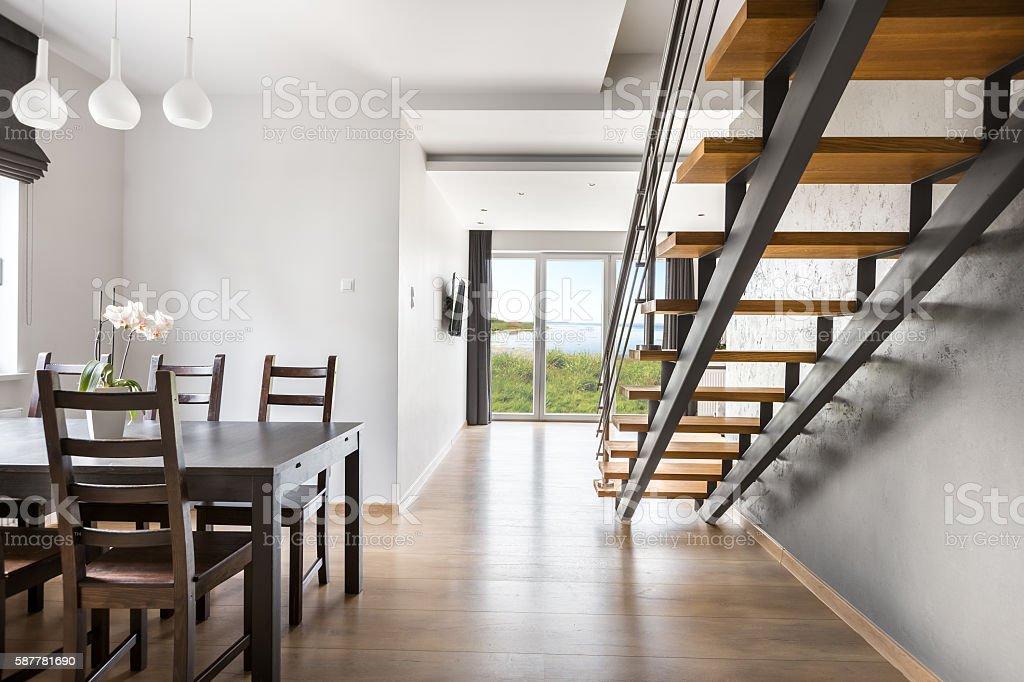 Beautiful open floor apartment idea stock photo