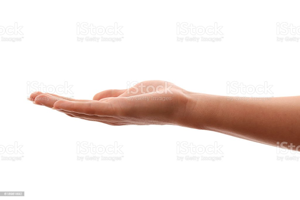 Beautiful open hand of young woman stock photo
