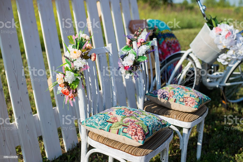 Beautiful open terrace in the garden with tiffany coloured vintage stock photo