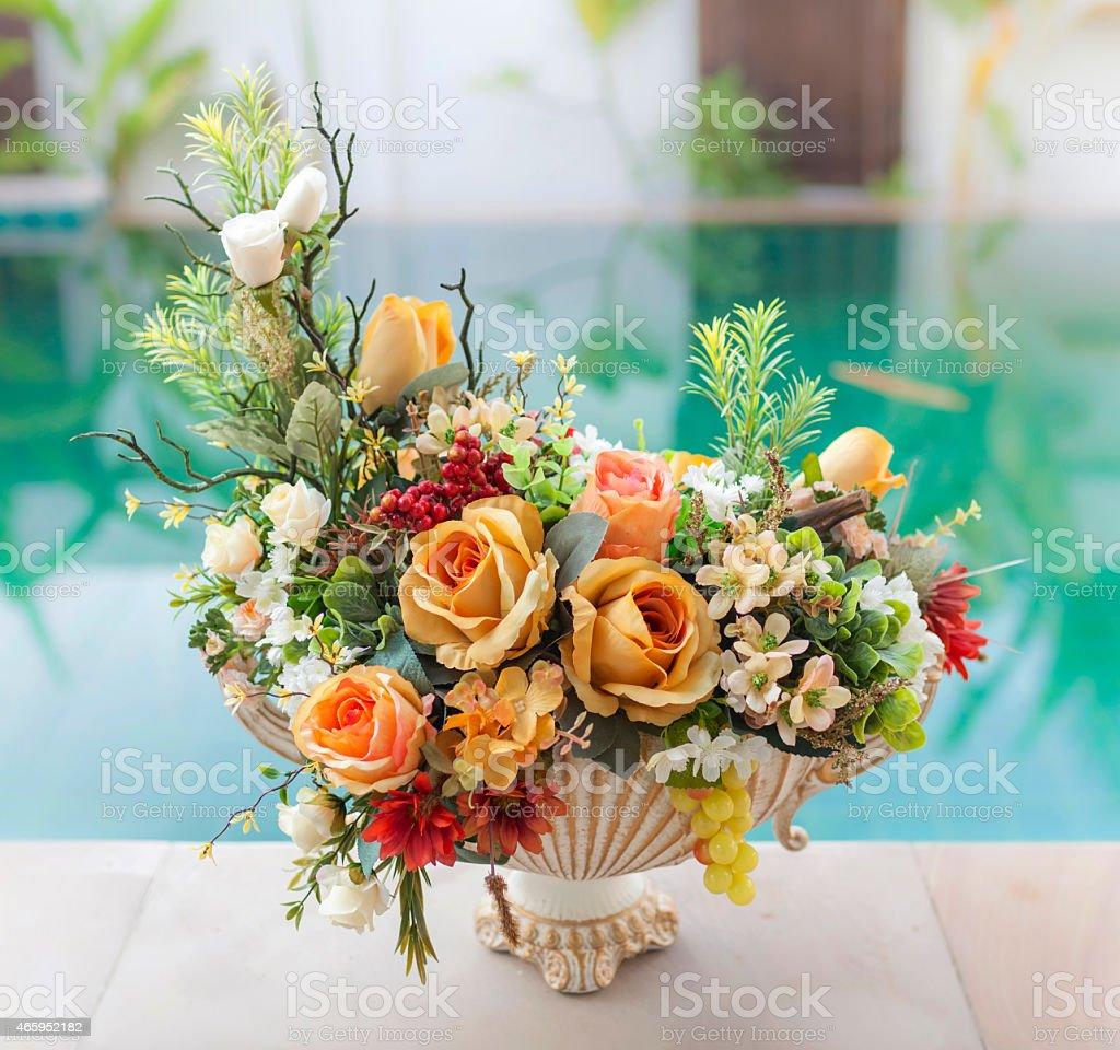 Beautiful orange and green flower set royalty-free stock photo