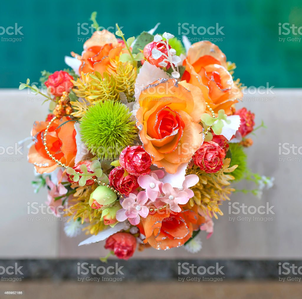 Beautiful orange and green set flower bouquet royalty-free stock photo