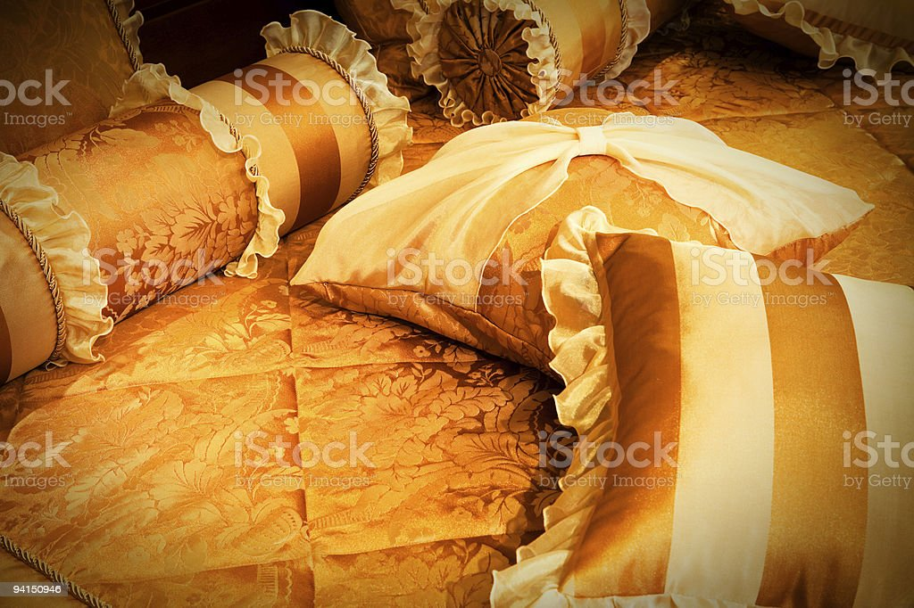 beautiful orange pillows stock photo