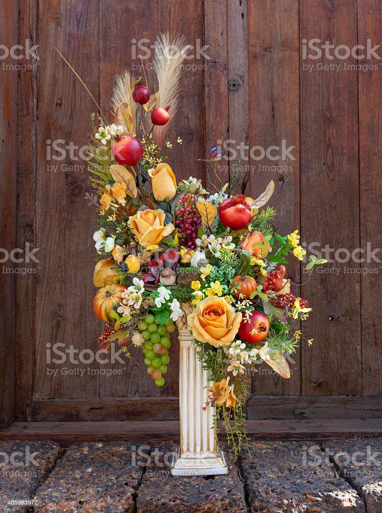Beautiful orange set flower vase royalty-free stock photo