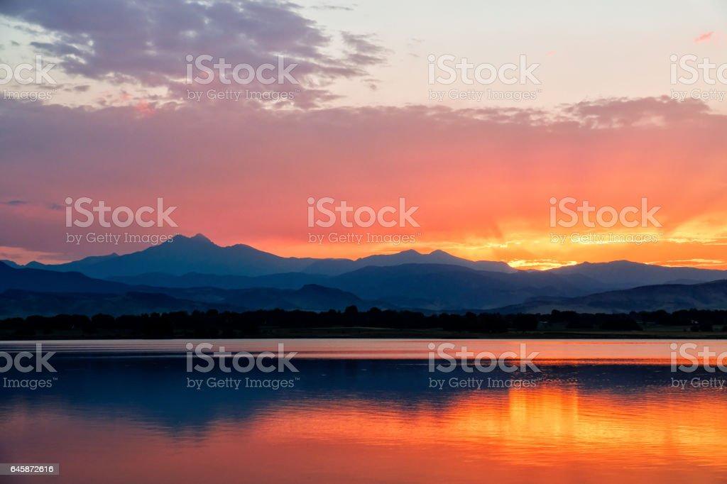 Beautiful Orange Sunset in Colorado stock photo