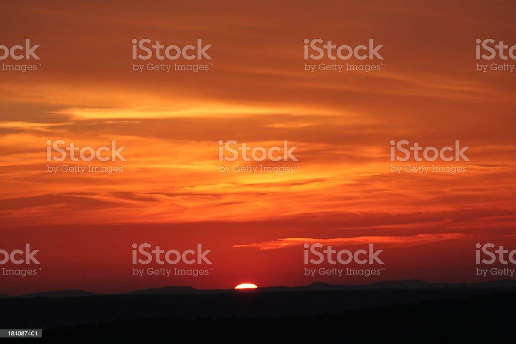 Beautiful orange view of a sunset royalty-free stock photo