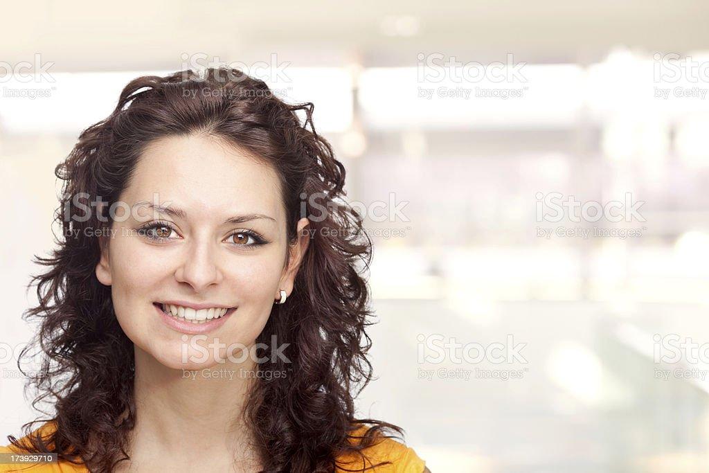 beautiful orange young brunette girl expression portrait stock photo