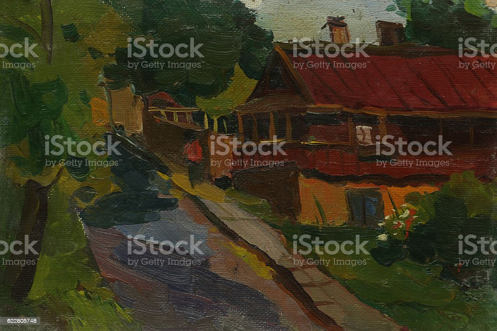 Beautiful Original Oil Painting Landscape On Canvas royalty-free stock photo