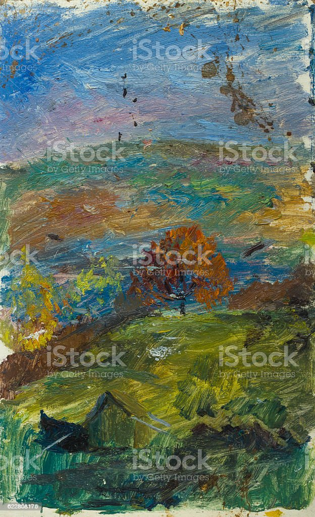 Beautiful Original Oil Painting of autumn landscape at sunset  On royalty-free stock photo
