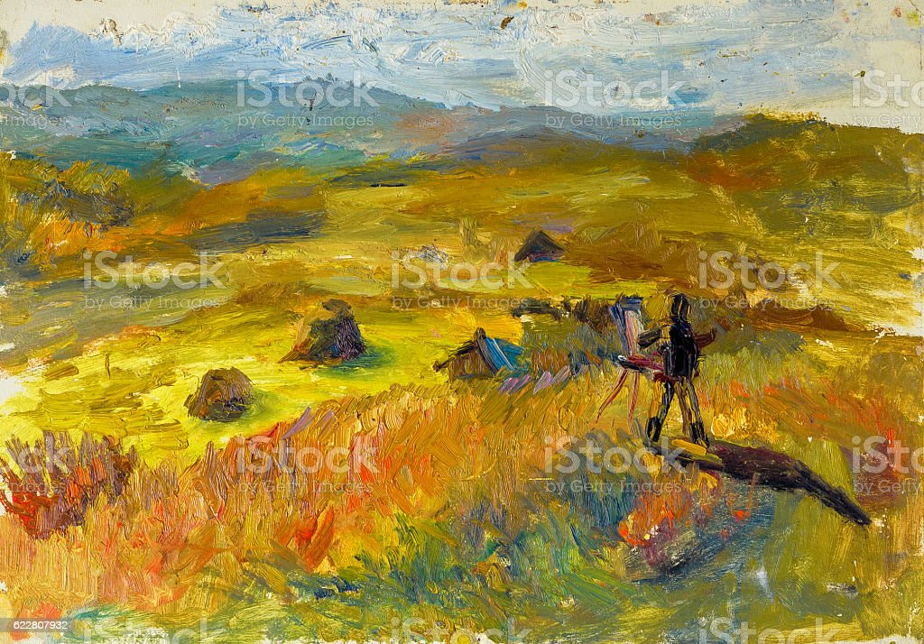 Beautiful Original Oil Painting of autumn landscape On Canvas royalty-free stock photo