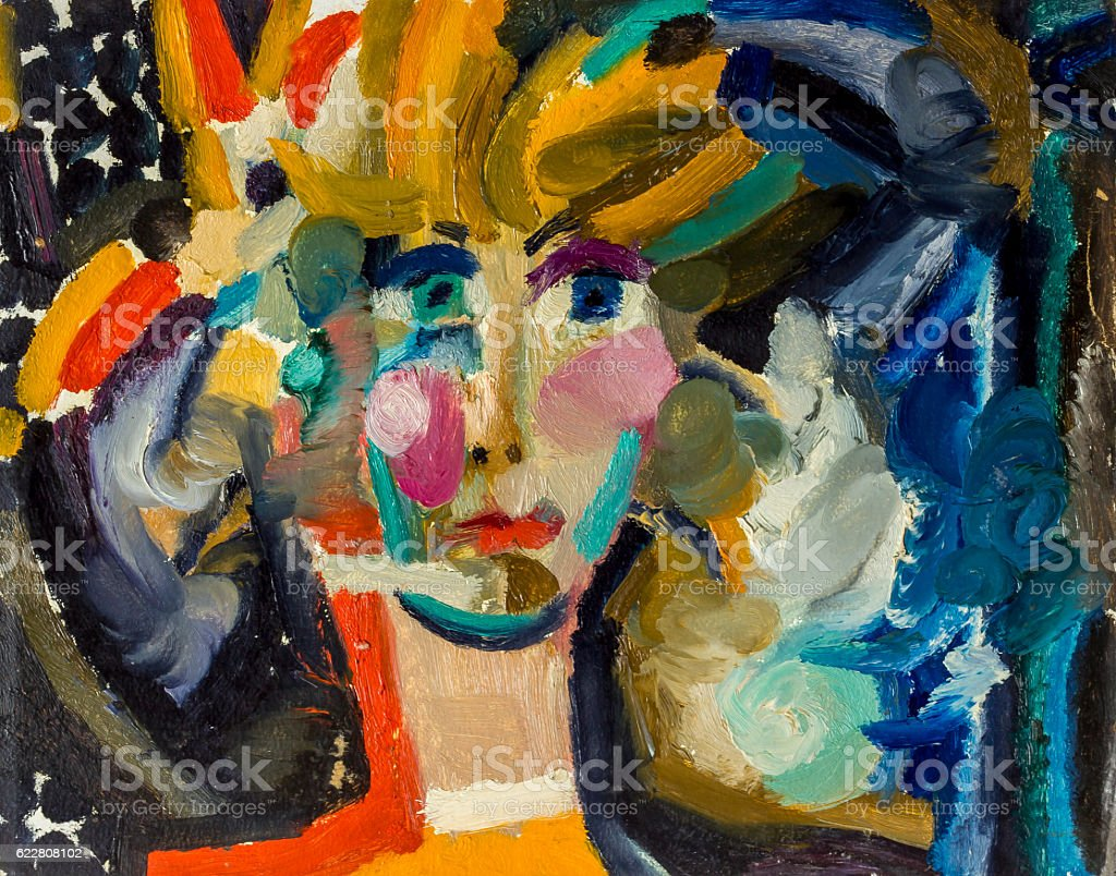 Beautiful Original Oil Painting of portrait  a woman On Canvas royalty-free stock photo