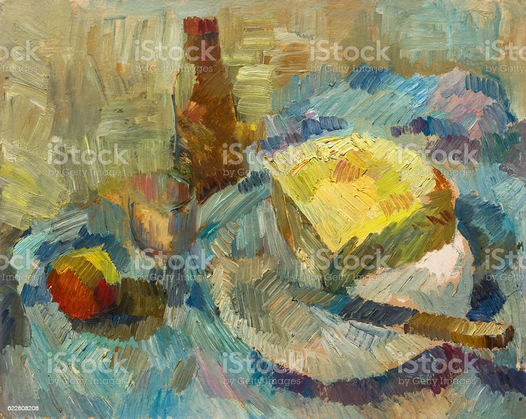 Beautiful Original Oil Painting of Still Life bottle cheese knife royalty-free stock photo