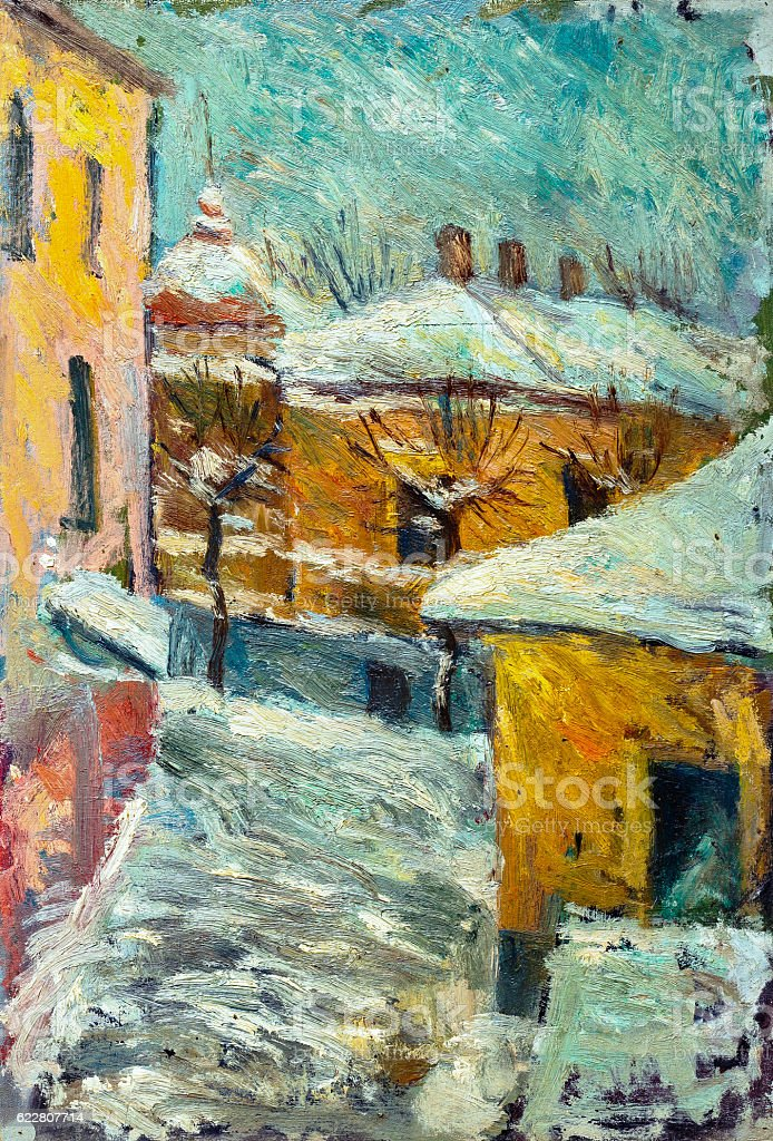Beautiful Original Oil Painting of street  On Canvas royalty-free stock photo