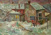 Beautiful Original Oil Painting of street  On Canvas