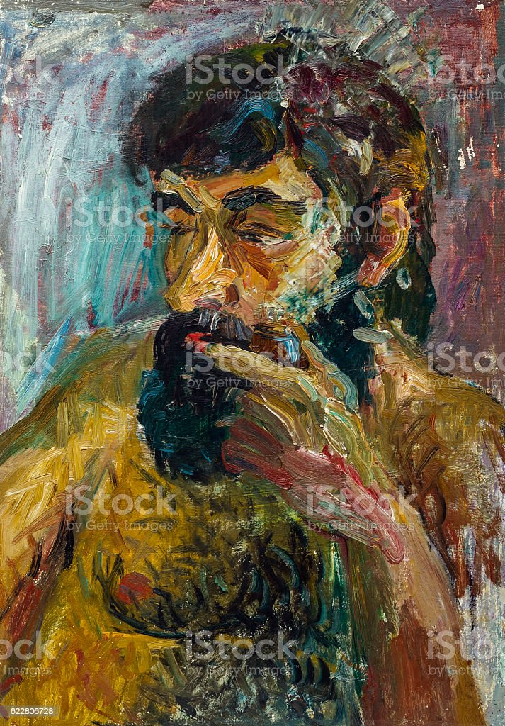 Beautiful Original Oil Painting of topless bearded royalty-free stock photo