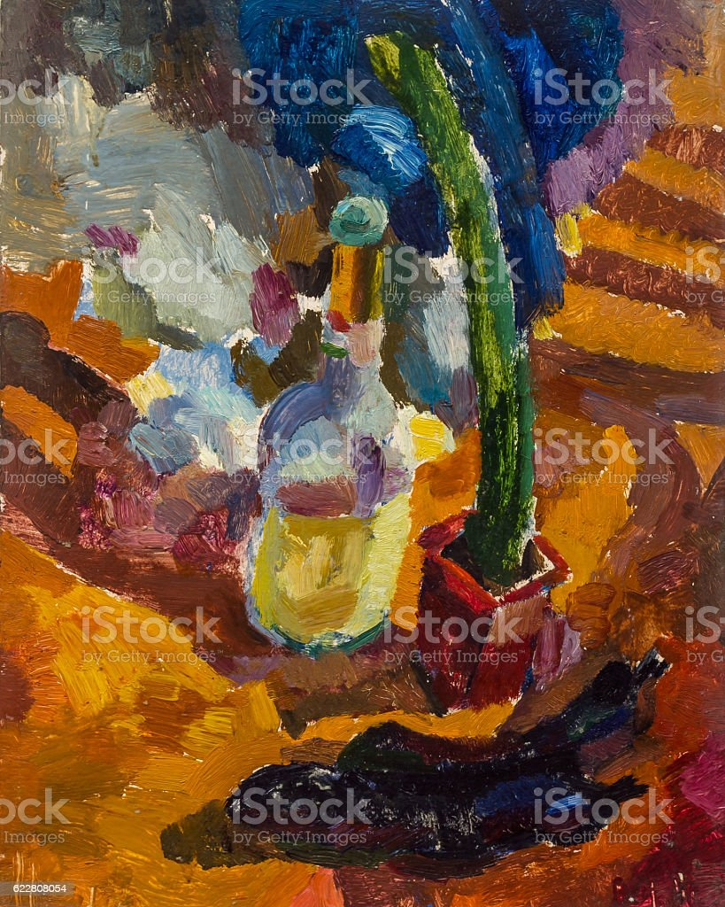Beautiful Original Oil Painting Still Life bottle and cactus On royalty-free stock photo