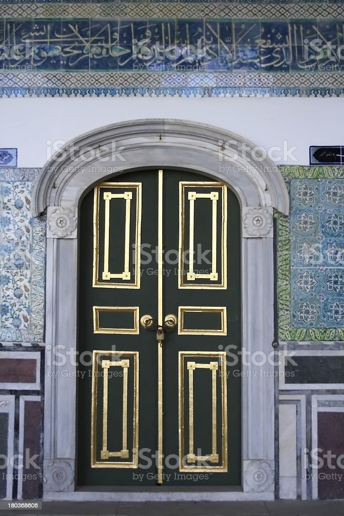 beutiful ornamented door entrance of Topkapi Palace in Istanbul stock photo