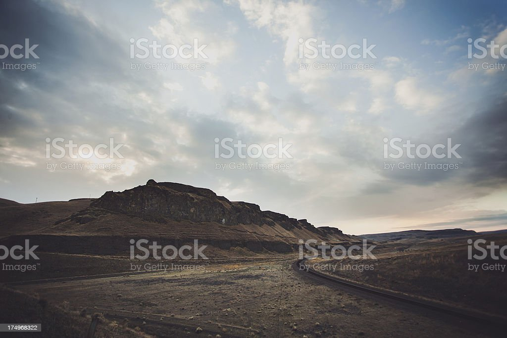 Beautiful Outdoor Sky and Clouds Nature Landscape Over Rock Formation stock photo