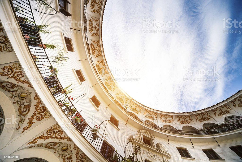 Beautiful oval architecture building in Seville - Spain stock photo
