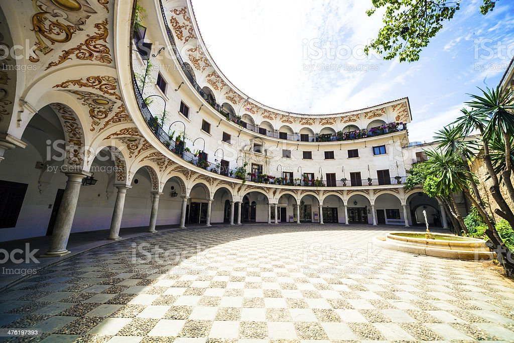 Beautiful oval architecture building in Seville - Spain royalty-free stock photo