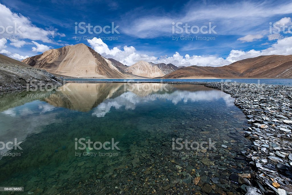 Beautiful Pangong Lake, Leh-Ladakh, Jammu and Kashmir, India stock photo