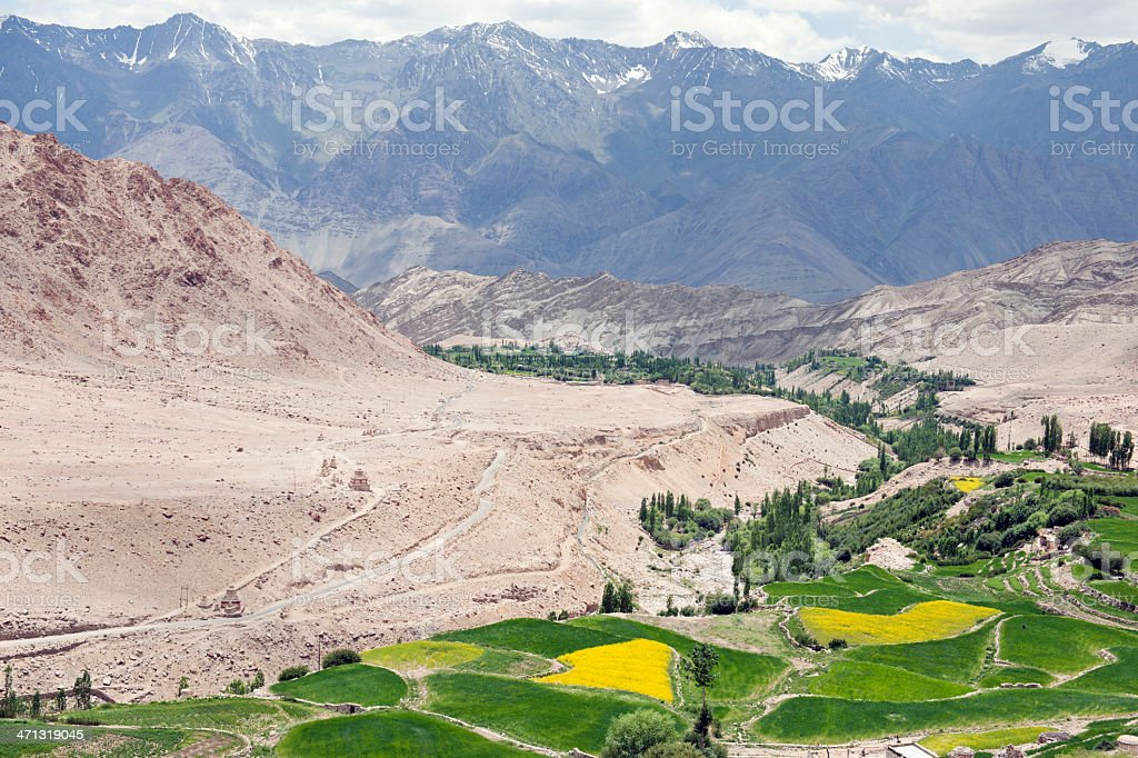 Beautiful Panorama in Ladakh Village Likir stock photo