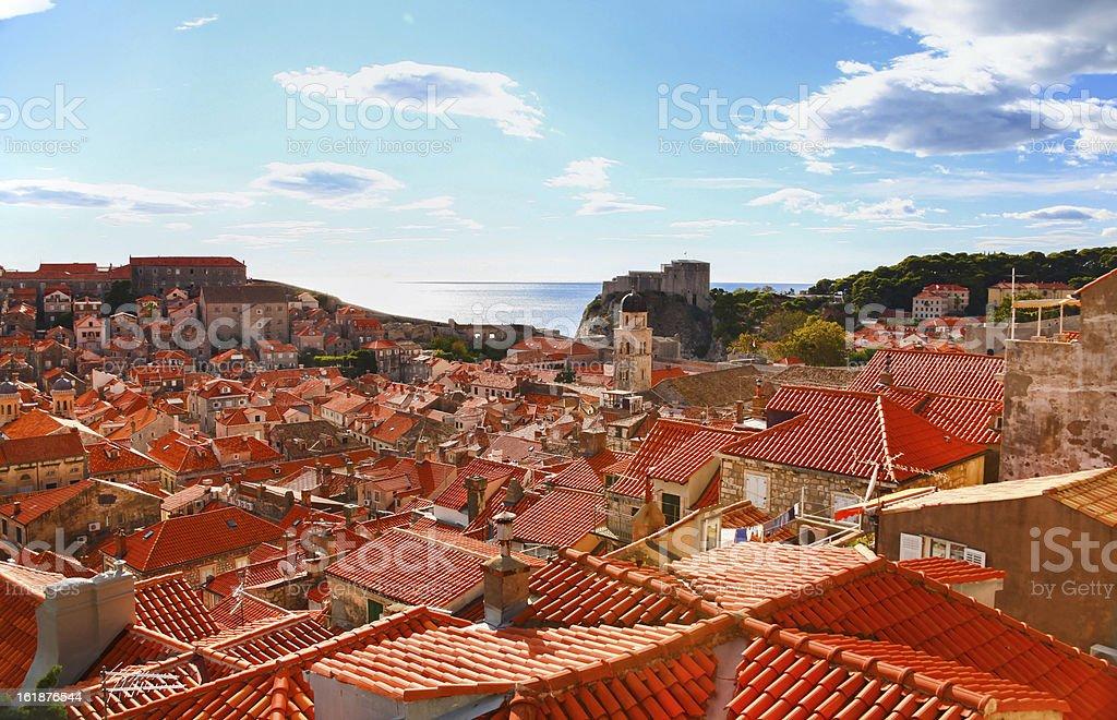 Beautiful panorama of Dubrovnik, Croatia stock photo