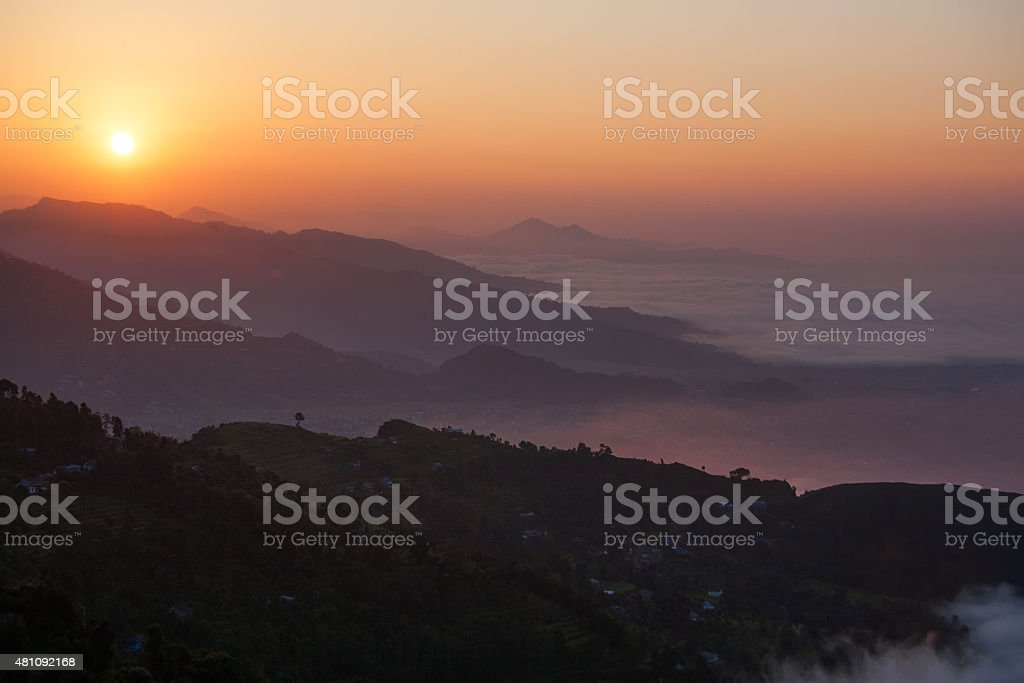 beautiful panorama of Himalayan mountains at sunset, Pokhara stock photo