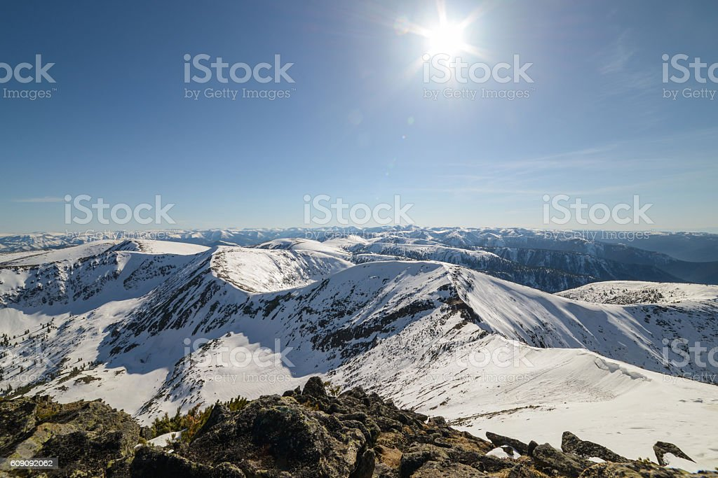 beautiful panorama of mountains stock photo