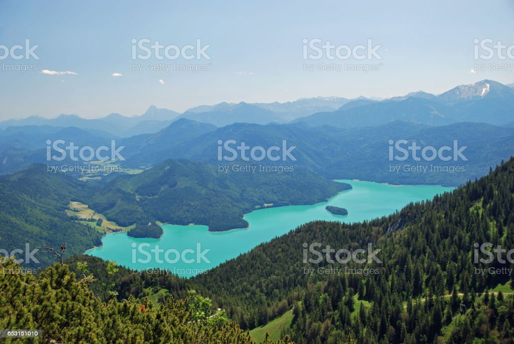 Beautiful panorama of Walchensee in the bavarian alps stock photo