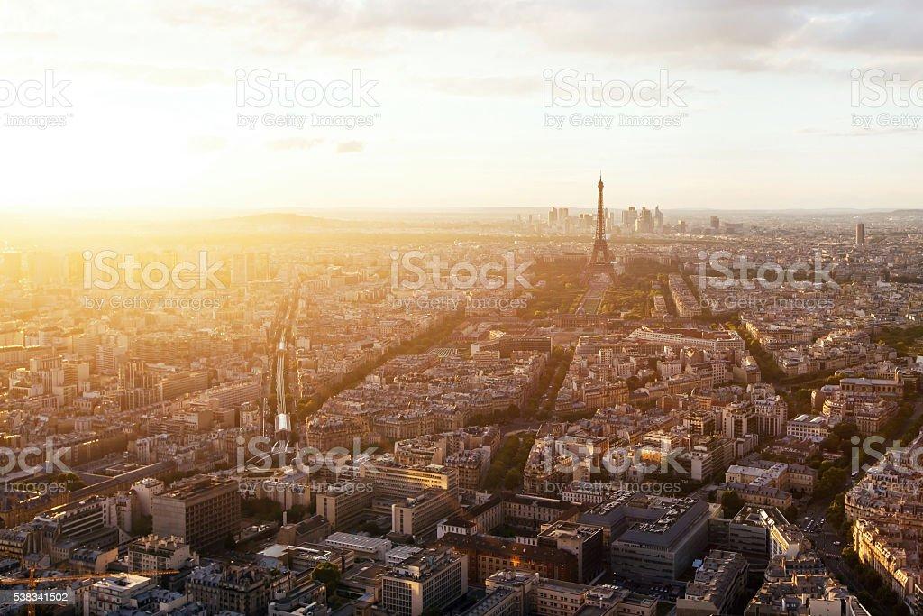 beautiful panoramic aerial view of Paris stock photo