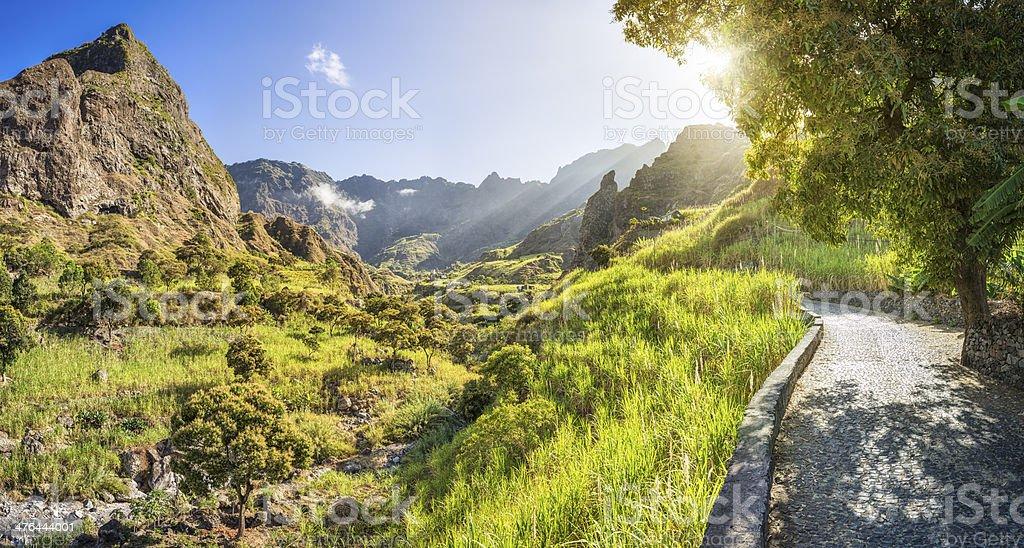 Beautiful panoramic landscape of Ribeira do Paul - Cape Verde stock photo