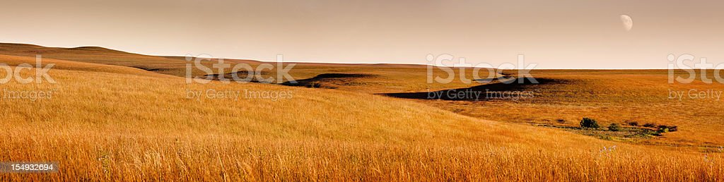 Beautiful Panoramic Scene of Golden Sunrise Kansas Tallgrass Prairie Park stock photo