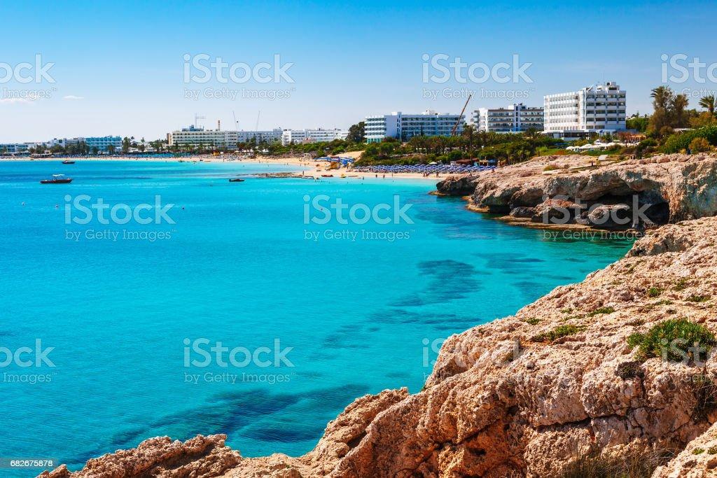 Beautiful panoramic sea view on Ayia Napa near of Cavo Greco, Cyprus island, Mediterranean Sea. Amazing blue green sea and sunny day. stock photo