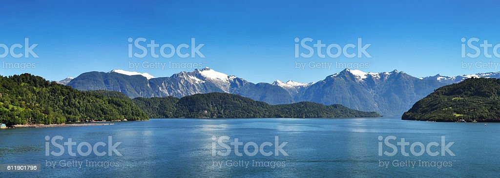 Beautiful panoramic view of Chilean fjords stock photo