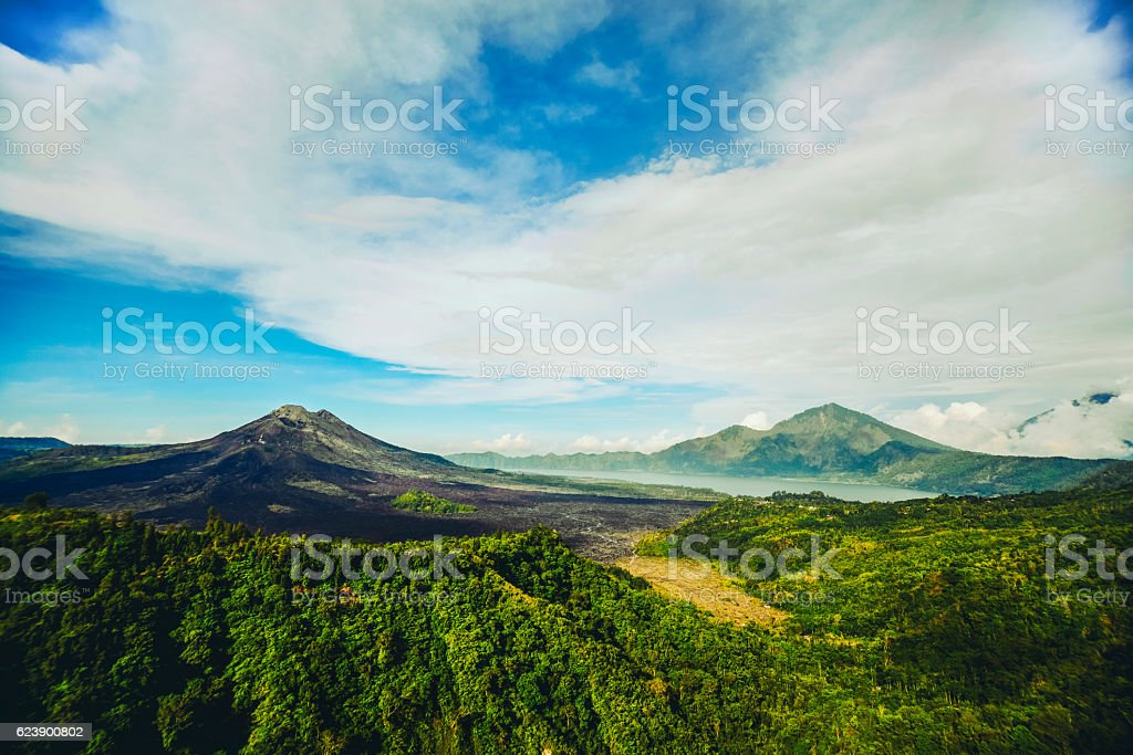 Beautiful Panoramic View of Gunung Batur Vlcano in Bali stock photo