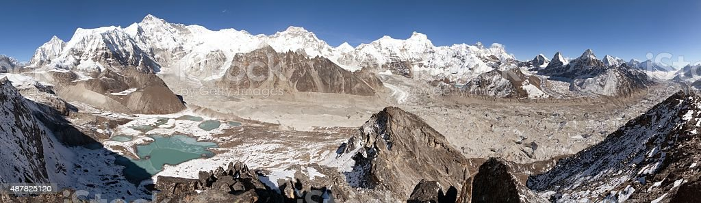 Beautiful panoramic view of Mount Cho Oyu stock photo