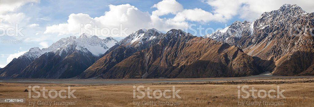 Beautiful panoramic view of Mt Cook in autumn, New Zealand stock photo