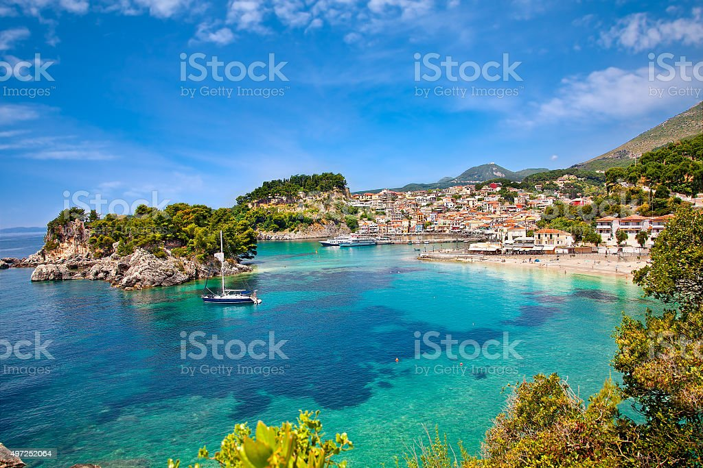 Beautiful panoramic view of Parga, Greece. stock photo