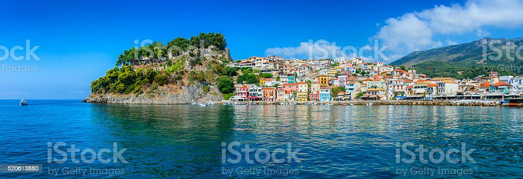 Beautiful Panoramic View of Parga Harbour, Greece stock photo