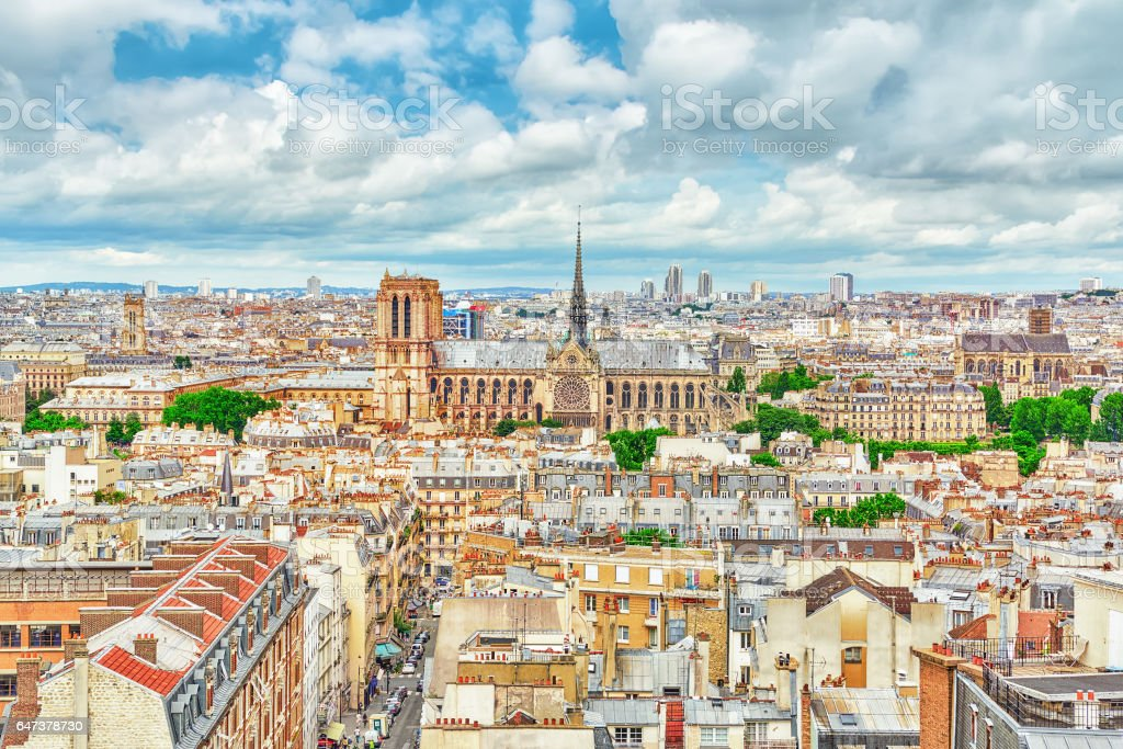 Beautiful panoramic view of Paris from the roof of the Pantheon. View on Notre Dame de Paris. stock photo